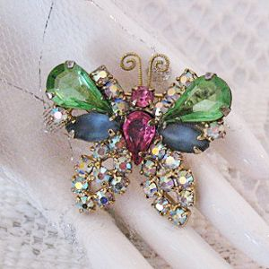 50% Off Amazing Vintage Huge Pear Rhinestones Satin Glass Butterfly Brooch