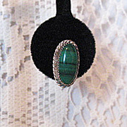 Unusual Vintage Sterling Silver Malachite Pierced Earrings