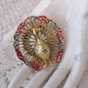 50% OFF~Signed Gerrys Vintage Peacock Enameled Brooch