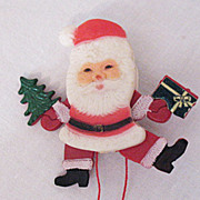 Mechanical Vintage Santa Claus Celluloid Christmas Brooch