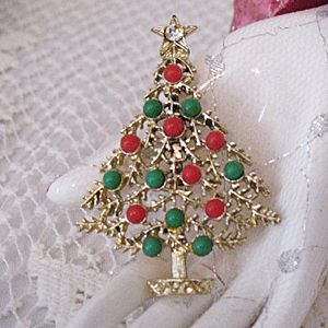Vintage Golden Christmas Tree Celluloid Ornaments Pin