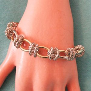 Unusual Vintage Chunky Oval Link Bracelet Two Tone 8 ½ Long