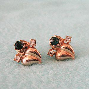 Abstract Heart Rhinestone Vintage Earrings 1940 Screw Back