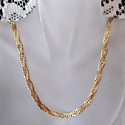 Ornate Flat Gold Plated 30 inch Chain Vintage Necklace