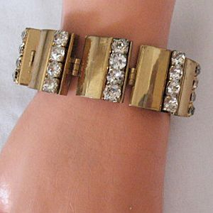 50% Off Amazing Brass Rhinestone Link Bracelet Vintage 1940s