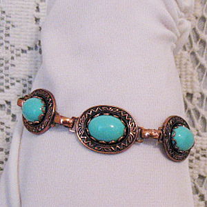 Vintage Copper Turquoise Glass Bracelet Egyptian Style
