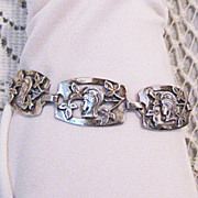 Rare Vintage Greek Goddess Sterling Silver Arts Crafts Era Bracelet