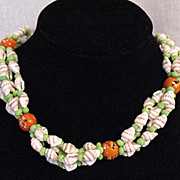 50% OFF~Unusual Vintage Sea Shell Necklace Blown Glass & Jadeite Beads
