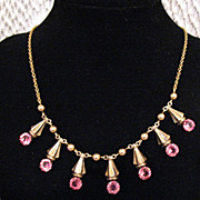 50% OFF~Vintage Signed Amco 10K GF Pink Rhinestone Necklace