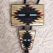 Scarce Vintage Native American Indian Signed C Dishta Zuni Inlay Bola Tie Necklace and Belt Buckle