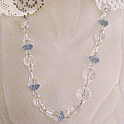 50% OFF~Magnificent Vintage Art Deco Blue Crystal Glass Beaded Sterling Necklace