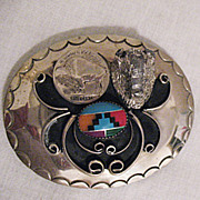 Wonderful Vintage Zuni Native American Indian Inlay Buffalo Nickel Belt Buckle Signed Squaw Wrap