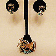 50% Off Beautiful Vintage Signed De Curtis 12K Gold Filled Brooch Pendant Earrings Set