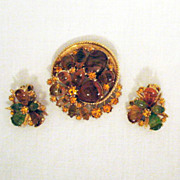 Scarce Brooch Earrings Set Vintage Signed Art Givre Glass Rhinestones