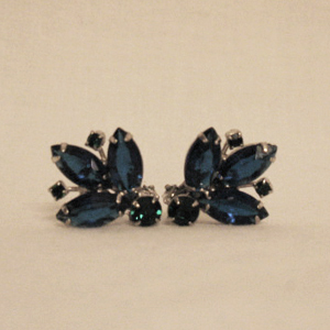 Vintage Sapphire Blue Emerald Green Rhinestone Earrings
