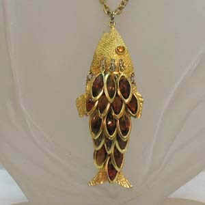 Huge Articulated Vintage Fish Collet Rhinestone Necklace