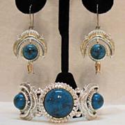 50% OFF Rare Signed Herman Vintage American Indian Bracelet Earrings Set