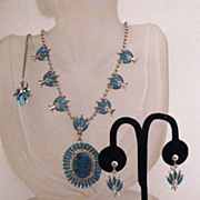 Vintage Parure Chatelaine American Indian Style Necklace Earrings Set