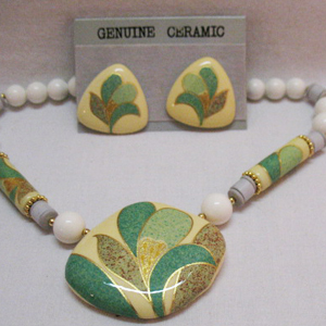 Awesome Vintage Seta Ceramic Necklace Earrings Set Unworn Original Box