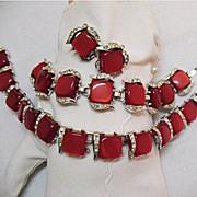 Yummy Vintage Red Moonglow Parure Necklace Bracelet Earrings
