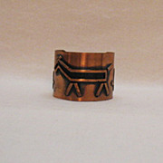 Wide Copper American Indian Vintage Signed Horse Cuff Bracelet