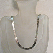 Awesome Vintage Italian Sterling Silver Double Sided 36 Inch Necklace
