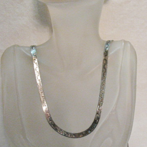 Awesome Vintage Italian Sterling Silver Double Sided Greek Key Herringbone Designed 36 Inch Chain Necklace