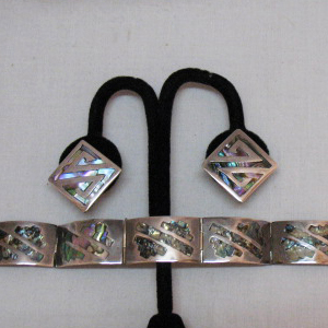 Exceptional Vintage Sterling Silver Abalone Inlay Bracelet Earrings Hallmarked JP