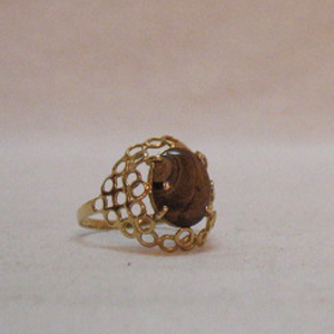 Feminine Vintage 14K Gold Ring Natural Matrix Tigers Eye