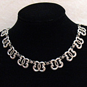 Gorgeous Vintage Signed WRE Sterling Silver Swirl Link Necklace