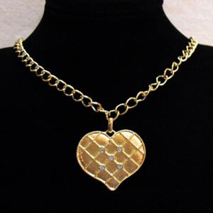50% OFF Vintage Heart Pendant Necklace Sparkling Rhinestones