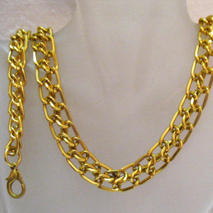 Vintage Gold Eloxal Double Link Chain Necklace Bracelet Set