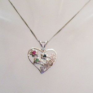 Signed NV Vintage Sterling Silver Sapphire Emerald Ruby MOM Heart Necklace