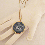 Vintage Copenhagen Porcelain Mother's Day Plate Necklace~Horse Foal Signed B&G Denmark