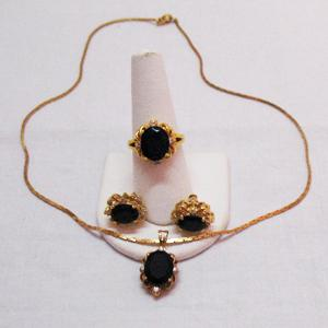 Vintage Parure Black Onyx Cubic Zirconia Necklace Ring Earrings