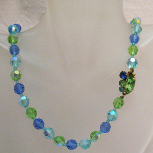 Gorgeous Vintage Faceted Glass Beaded Necklace Rhinestone Clasp