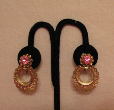 50% OFF Vintage Signed Coro Pink Rhinestone Earrings