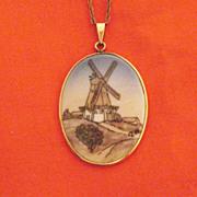 50% Off Fine Vintage Hand Painted Denmark B G Porcelain Necklace Pendant