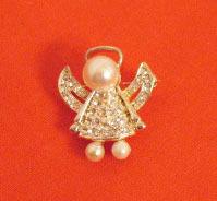 Adorable Vintage Pava Rhinestone Angel Brooch Faux Pearls