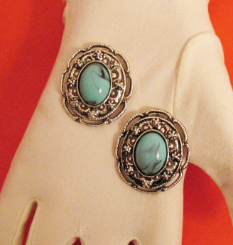 Big Bold Fabulous Faux Turquoise Vintage Floral Earrings