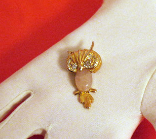 Vintage Pink Lucite Scarab Belly Owl Brooch/Pin