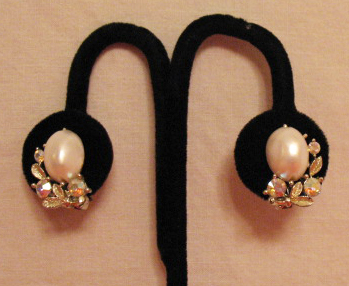 50% Off Vintage Signed Lisner Pearl Rhinestone Clip Earrings