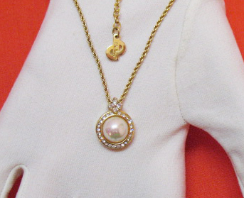 Fabulous Vintage Signed Christian Dior Pearl CZ Pendant Necklace