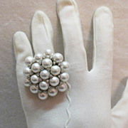 Amazing Vintage Cocktail Ring Sterling Silver Faux Pearl Cluster Cubic Zirconia