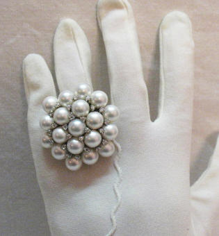 50% Off Amazing Vintage Cocktail Ring Sterling Silver Faux Pearl Cluster Cubic Zirconia