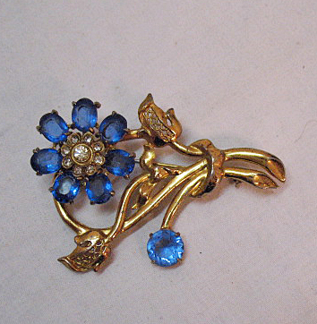 Magnificent Vintage Sapphire Blue Glass Petal Flower Brooch by Coro