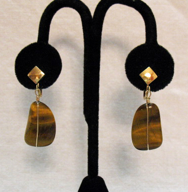 Gorgeous Tiger's Eye Natural Stone Vintage Earrings
