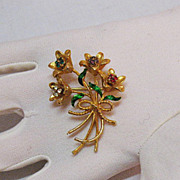 Vintage Signed Corel Rhinestone Brooch Bouquet by Coro