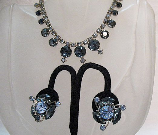50% Off Bold Vintage Rhinestone Sapphire Blue Necklace Earrings Set