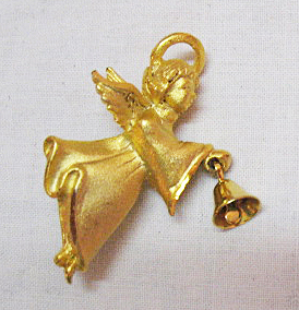 Signed G G USA Vintage Guardian Angel with Bell Brooch